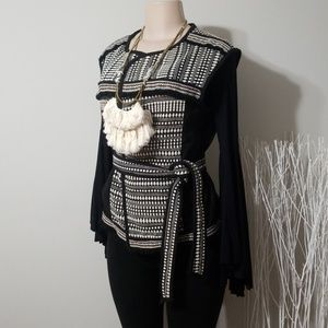 NEW! H&M EMBROIDERED TRIBAL STYLE BELTED VEST!